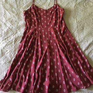 Old Navy Wine Red Print Skater Dress